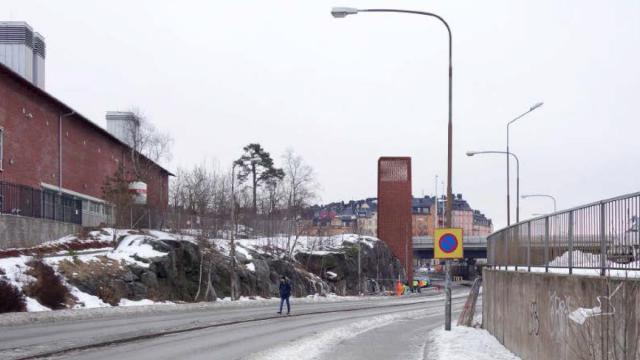Friskluftsintag vid E4:n - vy från Tomtebodavägen